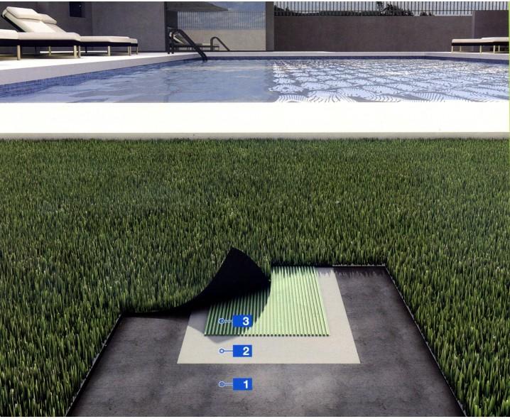 Система для укладки искуственной травы в ландшафтной архитектуре