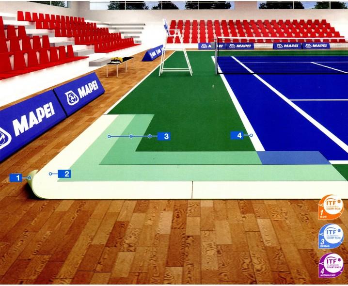 Съемное покрытие на основе синтетических смол для обустройства теннисных кортов
