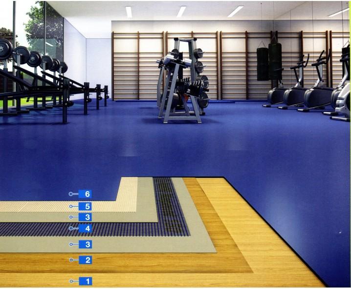 Система для укладки спортивных ПВХ покрытий на основания из многослойной фанеры