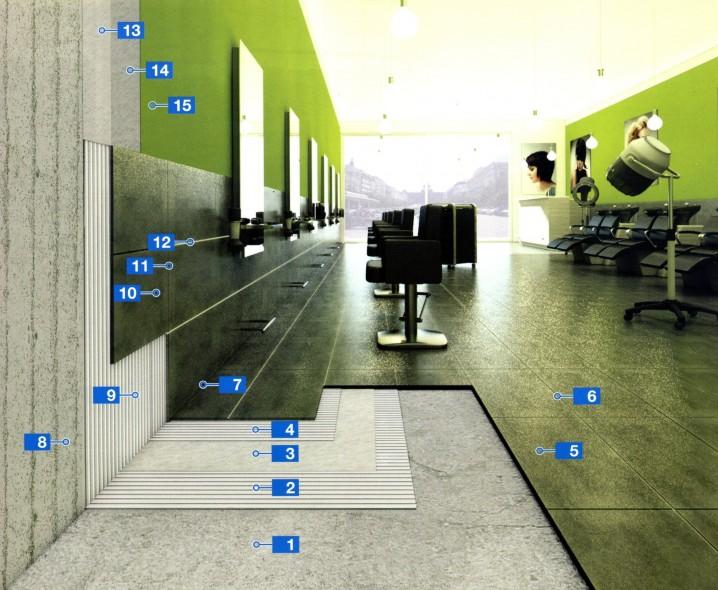 Система для укладки керамической плитки на бетонные стены и цементные основания с микротрещинами