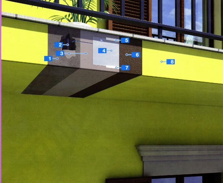 Долговечная система для защиты и ремонта торцов балкона с помощью эластомерного покрытия