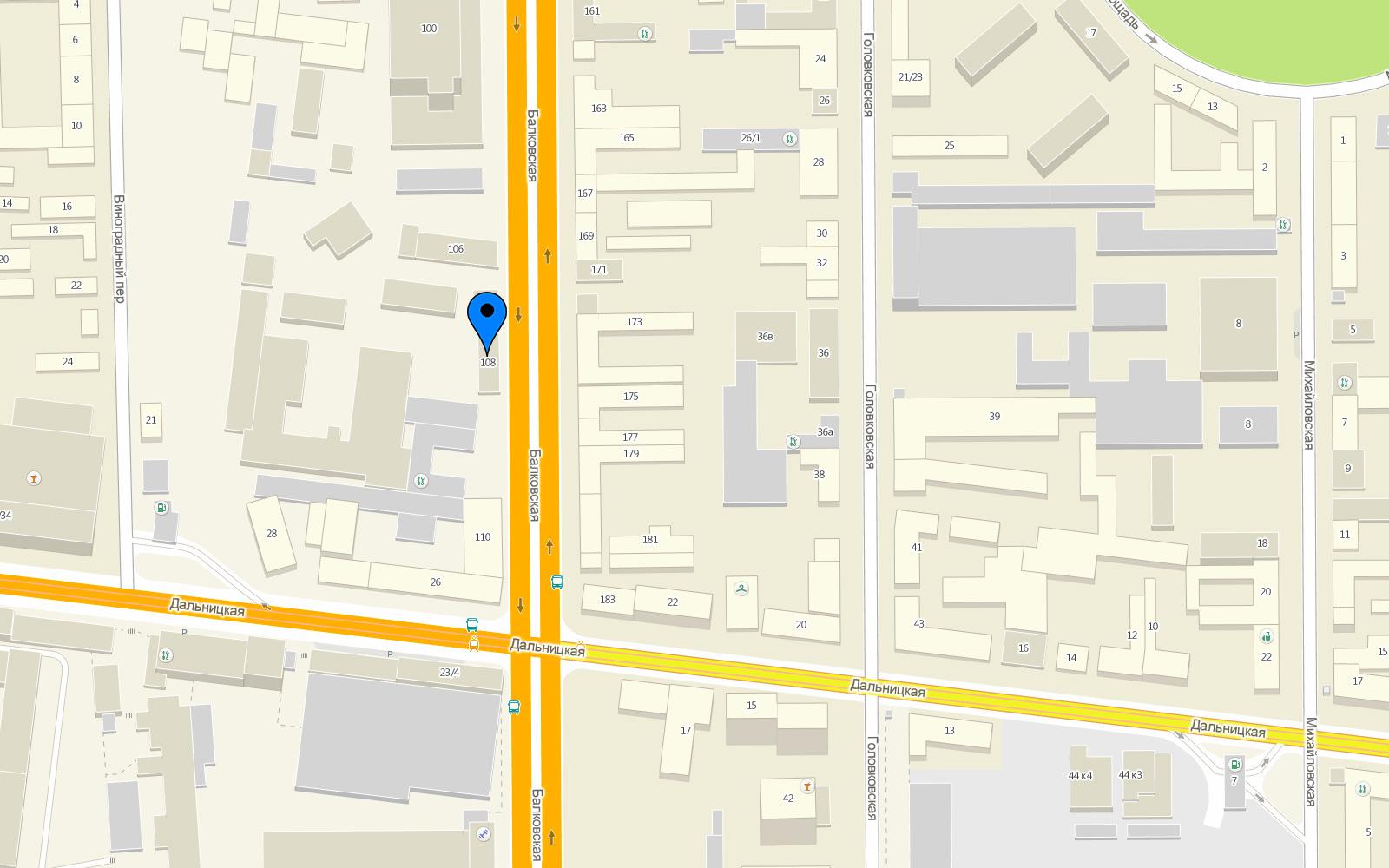 Карта проезда Успех+ , ул. Балковская 108